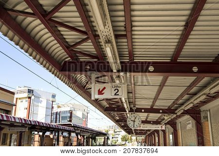 PACO DE ARCOS, PORTUGAL - October 6, 2017: Paco de Arcos train station is a busy station on the Cais do Sodre to Cascais line