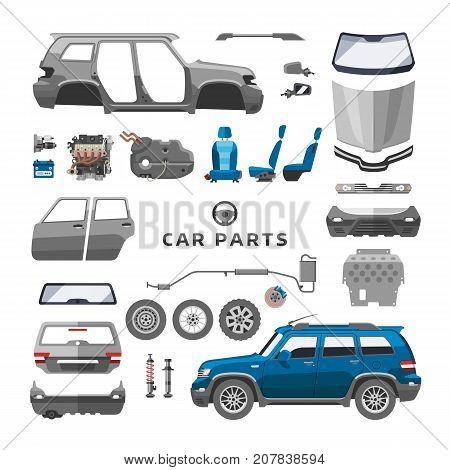 Car service parts flat vector illustration. Auto mechanic repair of machines and equipment. Car diagnostics. Vector illustration and flat icons.