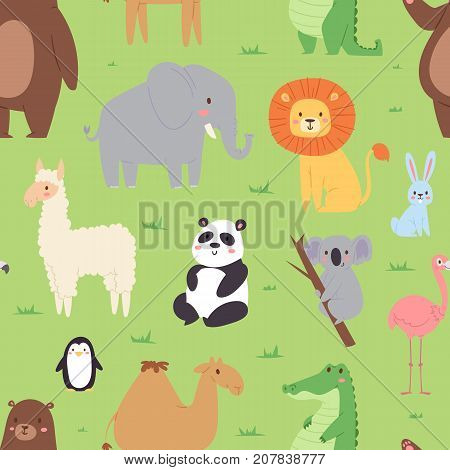 Vector seamless pattern with cartoon animals wildlife wallpaper zoo wild characters background for kids illustration. Exotic safari fauna african textile.