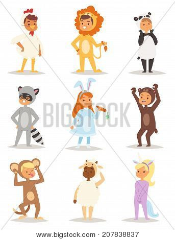 Children wearing fancy dress costumes animals masquerade kids holiday characters vector illustration. Funny childhood carnival cartoon masked ball little baby.