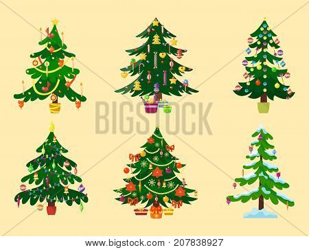 Pine tree cartoon green vector winter needle holiday leaf trunk fir plant background. Natural design jungle branch garden decoration textile flora forest.