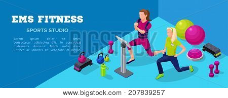 Sport club banner ems fitness studio with people doing electrical muscular workout power exercises and sports equipment. Vector illustration