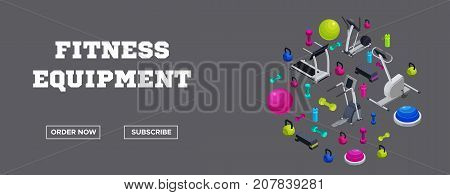 Sports fitness accessories banner with set of isometric sports equipment colorful background with dumbells step platforms fit ball half ball bottle workout tools vector illustration