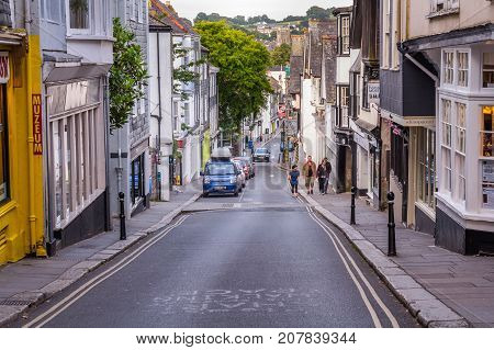 Totnes Devon England 21 July 2017: View of the central street of Totnes. Street under a big bias. UK