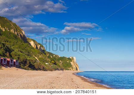 View of the beach from the cliffs of the Jurassic period near Branscombe. Devon. England