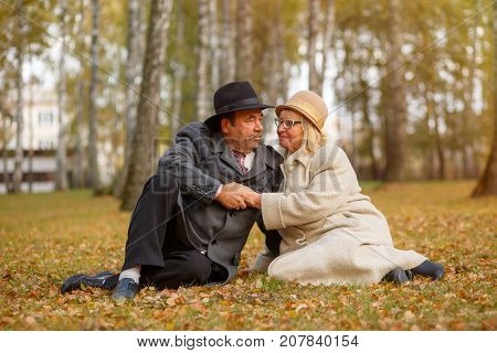 elderly couple in the autumn park hold hands