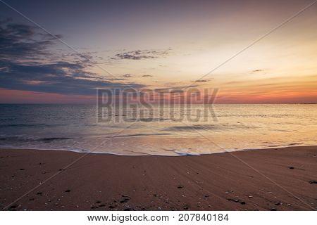 Scenic view of beautiful sunrise above the sea.