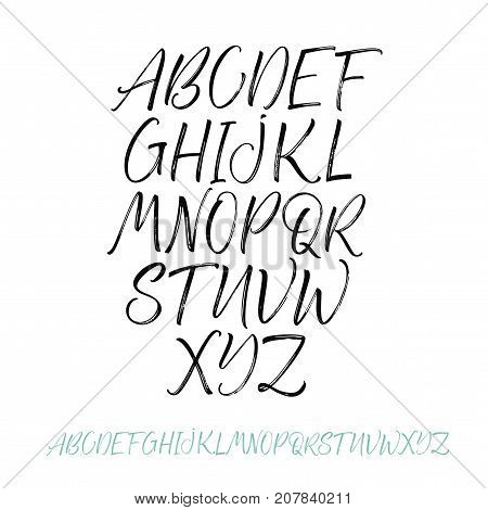 Vector hand drawn alphabet. Brush painted letters. Hand drawn calligraphy letters. Ink illustration. Modern brush calligraphy. Vector hand drawn typeface.