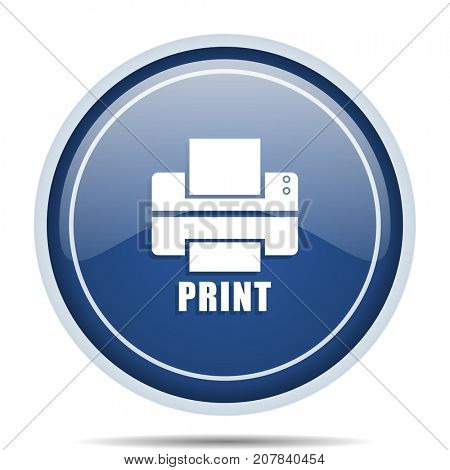 Printer blue round web icon. Circle isolated internet button for webdesign and smartphone applications.