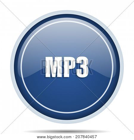 Mp3 blue round web icon. Circle isolated internet button for webdesign and smartphone applications.
