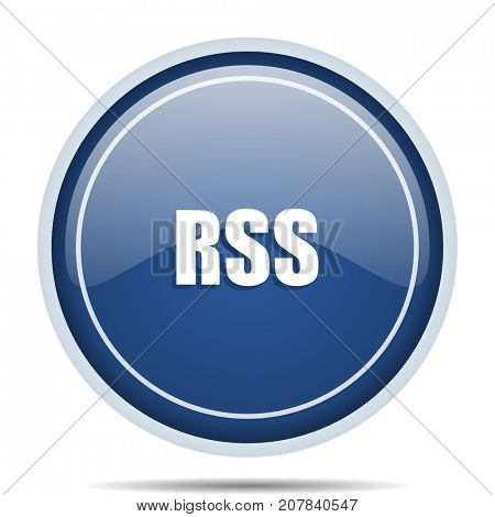 Rss blue round web icon. Circle isolated internet button for webdesign and smartphone applications.