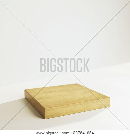 Side view of empty wooden plank on concrete background. Product placement concept. Mock up 3D Rendering