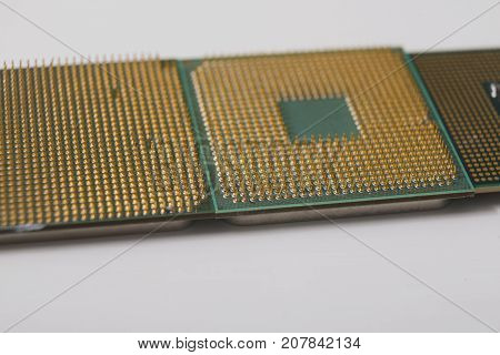 Computer processor chip close-up. New CPU, technology repair shop, device upgrade, electronic development concept