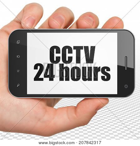 Protection concept: Hand Holding Smartphone with black text CCTV 24 hours on display, 3D rendering