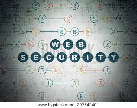 Safety concept: Painted blue text Web Security on Digital Data Paper background with Hexadecimal Code