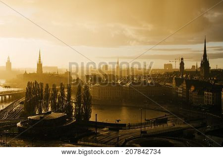 Beautiful golden sunset after rain over the Stockholm - the capital of Sweden