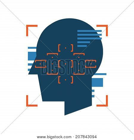 Digital face scanning abstract icon. Human face recognition biometric identification concept illustration isolated vector. Transparent