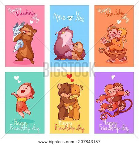 Set Of Cute Cards For Friendship Day.