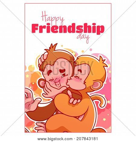 Greeting Card For Friendship Day With Two Cute Monkeys.