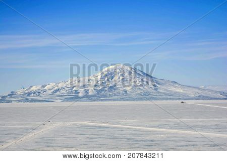 Mt Erebus Ross Island Antarctica during the long day.