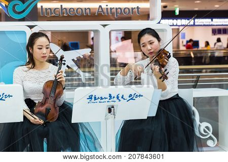 February 21 2016: South Korea Incheon International Airport Korea National live performance in traditional cultural experience center located in the passenger terminal. Preparations for XXIII Winter Olympic Games