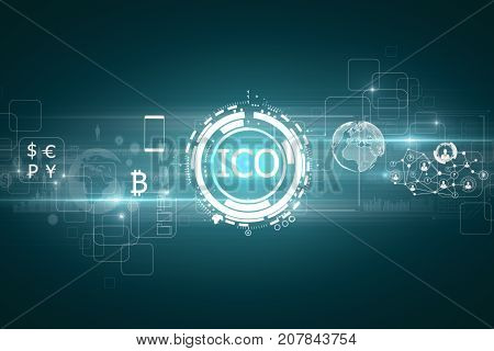 Abstract glowing digital currency button ICO initial coin offering on virtual digital electronic user interface. E-commerce concept. 3D Rendering