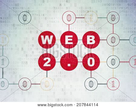 Web design concept: Painted red text Web 2.0 on Digital Data Paper background with Binary Code