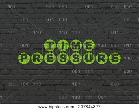 Time concept: Painted green text Time Pressure on Black Brick wall background with Binary Code