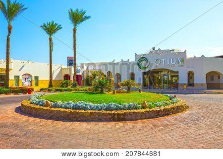 Sharm El Sheikh, Egypt - September 27, 2017: The main entrance and Amphoras at Otium Hotel Amphoras Sharm 5 at Sharm El Sheikh, Egypt on September 27, 2017