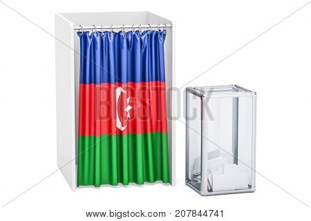 Azerbaijan election concept ballot box and voting booths with flag of Kirghizia 3D rendering