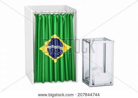 Brazilian election concept ballot box and voting booths with flag of Brazil 3D rendering