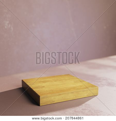 Side view of empty wooden plank on concrete background. Presentation concept. Mock up 3D Rendering