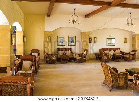 Sharm El Sheikh, Egypt - September 27, 2017: The lobbi at Grand Hotel Sharm El Sheikh 5 at Sharm El Sheikh, Egypt on September 27, 2017