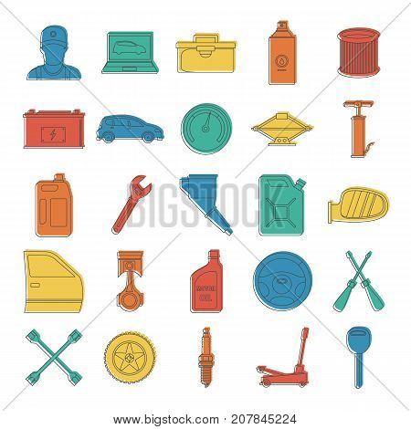 Auto service with tools and car doodle icons set vector illustration for design and web isolated on white background. Auto service vector object for label and advertising