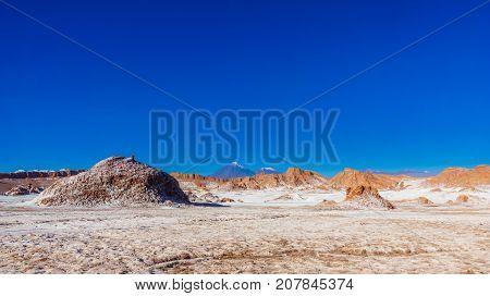 View on moon valley and volcano Licancabur by San Pedro de Atacama in Chile