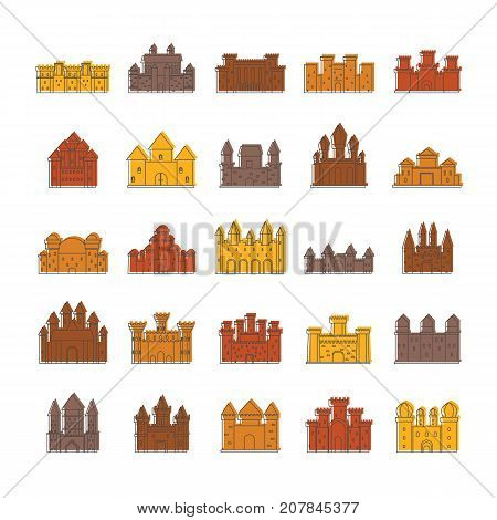 Medieval castles doodle icons set vector illustration for design and web isolated on white background. Medieval castles vector object for label and advertising
