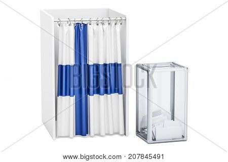 Finnish election concept ballot box and voting booths with flag of Finland 3D rendering