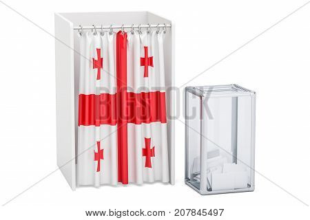 Georgian election concept ballot box and voting booths with flag of Georgia 3D rendering