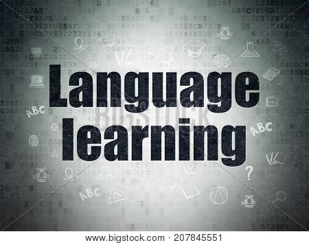 Learning concept: Painted black text Language Learning on Digital Data Paper background with  Hand Drawn Education Icons