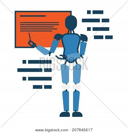 Humanoid robot teacher pointing at blackboard abstract icon. Hi-tech technology modern concept illustration isolated vector. Transparent
