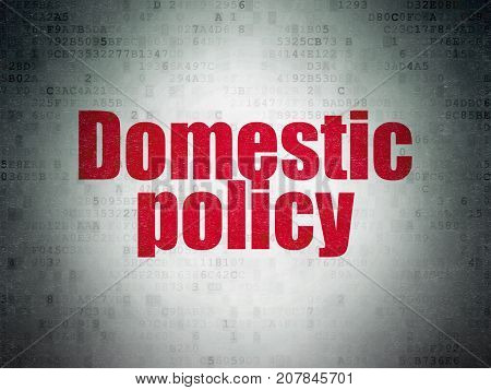 Politics concept: Painted red word Domestic Policy on Digital Data Paper background