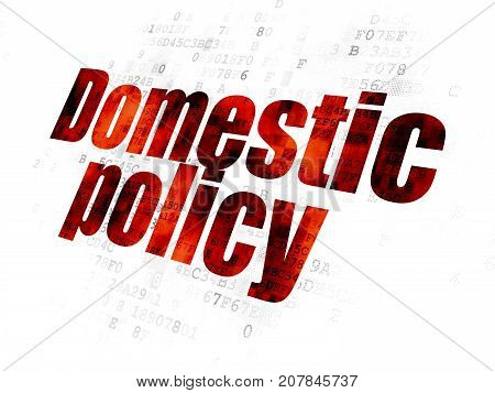 Political concept: Pixelated red text Domestic Policy on Digital background