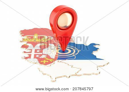 Map pointer on the map of Serbia 3D rendering isolated on white background