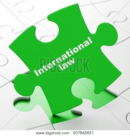 Political concept: International Law on Green puzzle pieces background, 3D rendering