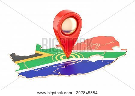 Map pointer on the map of South Africa 3D rendering isolated on white background