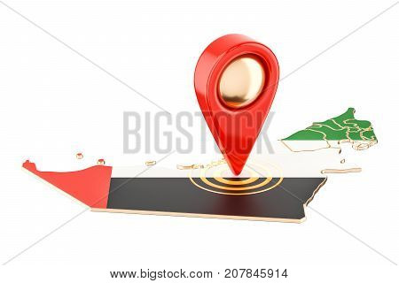 Map pointer on the map of UAE 3D rendering isolated on white background