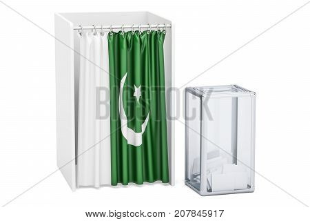 Pakistani election concept ballot box and voting booths with flag of Pakistan 3D rendering