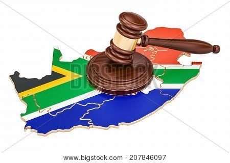 Wooden Gavel on map of South Africa 3D rendering isolated on white background