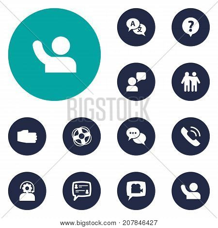 Collection Of Blog, Undertake, Translate And Other Elements.  Set Of 12 Support Icons Set.