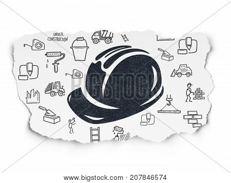 Building construction concept: Painted black Safety Helmet icon on Torn Paper background with  Hand Drawn Construction Icons